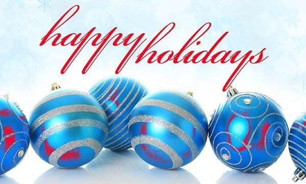 Happy Holidays with blue and red bulbs
