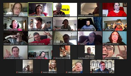 A screen shot of 24 people making silly faces during the KSYLF Reunion on a Zoom screen