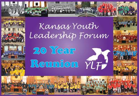 Kansas Youth Leadership Forum 20 Year Reunion with YLF dove logo and group pictures surrounding it