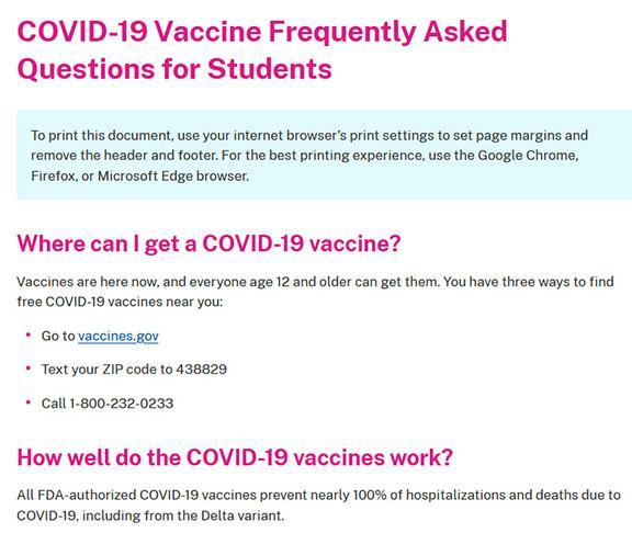 Screen shot of COVID 19 FAQ document