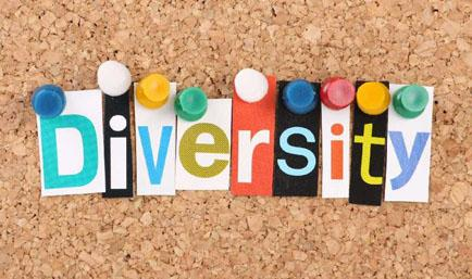 The word diversity made out of different colors of paper and pinned on a cork board
