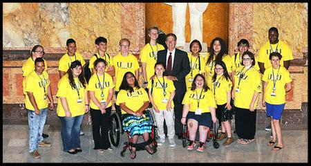 Delegates at the 2017 KSYLF take a photo with Governor Brownback in the Capital
