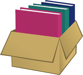 Books in a packing box