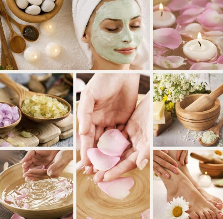 Collage of spa techniques