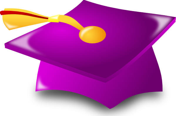 Purple and yellow graduation cap