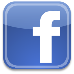 Facebook logo, a blue square with a white lowercase