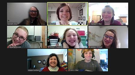Screen shot of an Empower Me workshop on Zoom with 8 participants