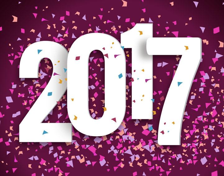 2017 in bold letters with confetti all around it