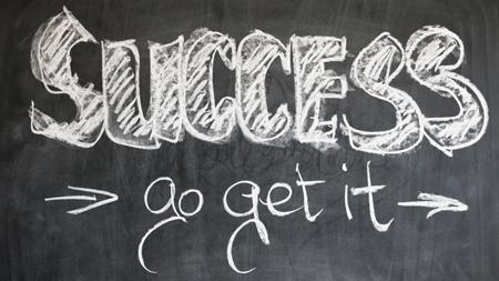 Success, go get it, written on a chalkboard