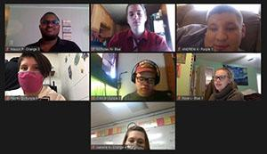A screen shot of a Zoom call with 7 youth participants
