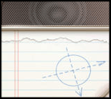 Notepad with compass drawn on it icon