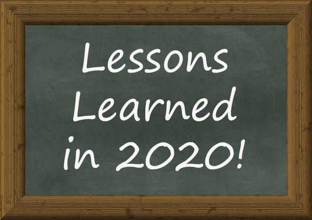 A Chalkboard with the words Lessons Learned in 2020 on it