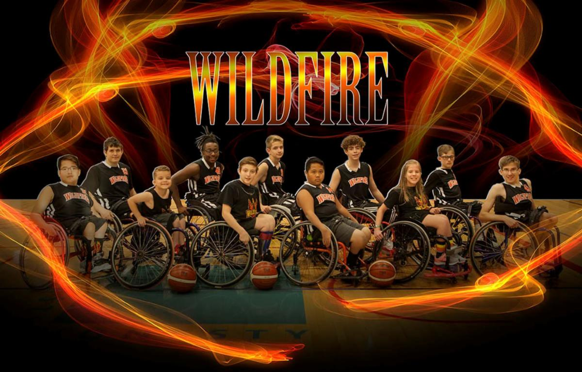 Group picture of the Wildfire youth wheelchair basketball team