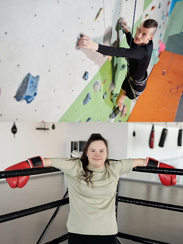 Two sports pictures- A male with one leg climbing a rock wall and a young lady with down syndrome wearing boxing gloves in a boxing ring