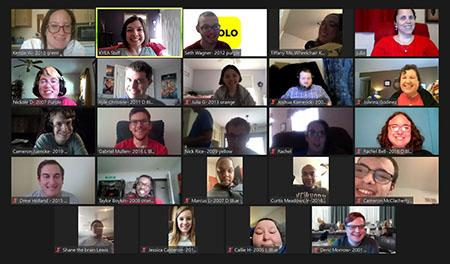 A screen shot of 24 people during the KSYLF Reunion on a Zoom screen