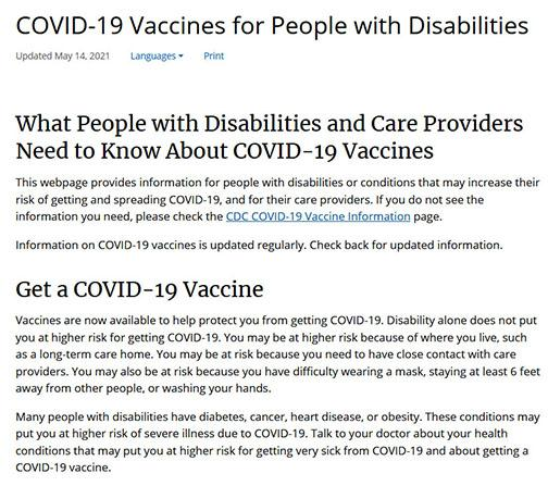 Screen shot of COVID 19 Vaccines for People with Disabilities document