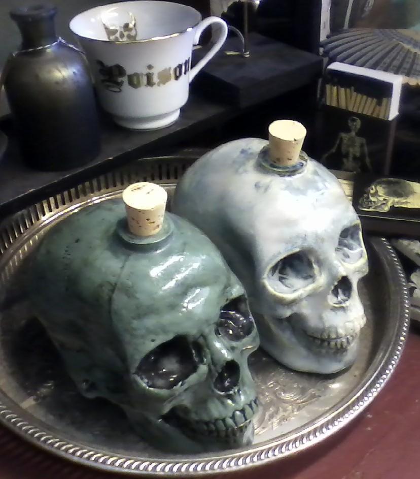 Handmade Ceramic Skull Decanters.