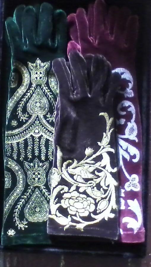 Hand-Printed Velvet Gloves.