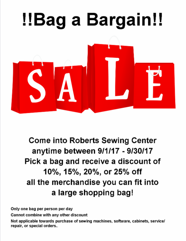 Roberts Sewing Center Update For September 7 2017