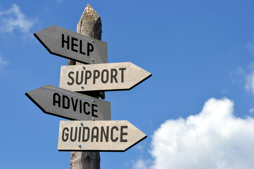 Wooden signpost with four arrows -  help_ support_ advice_ guidance . Great for topics like customer support_ assistance_ business presentations etc.