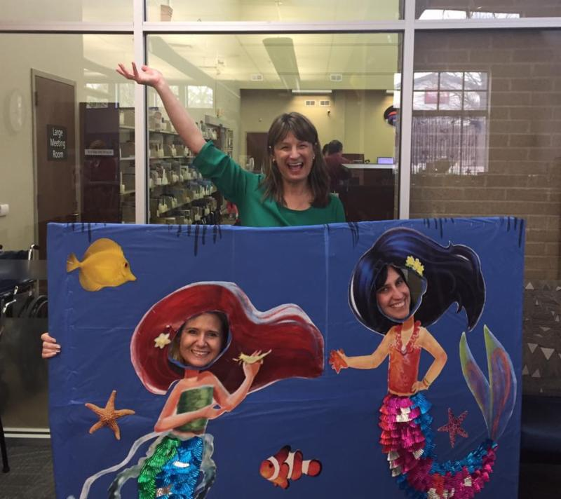 Debbie, Stephanie, and Gail at a mermaid party at the Beaumont branch of the Lexington Public Library