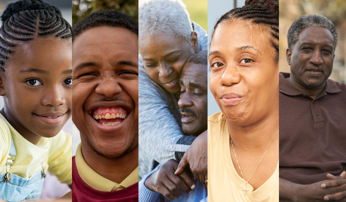 Five separate and diverse images of Black people.