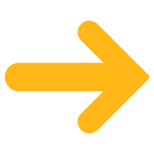 Arrow right icon from Basic Plain Icon Set. Style  flat symbol icon_ yellow color_ rounded angles_ white background.