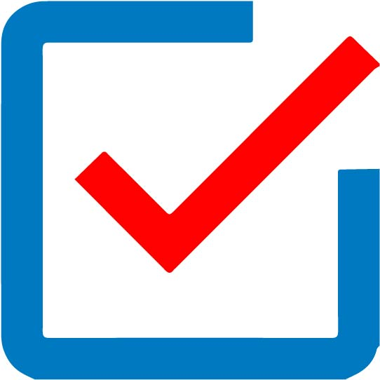 blue box with red checkmark