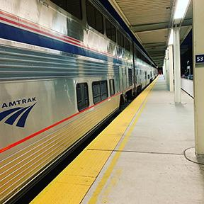 Amtrak train in a station