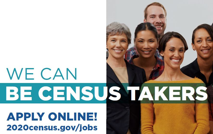 group of people_ Text_ _ We can be census takers. Apply online 2020census.gov_jobs
