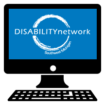 computer screen with Disability Network logo