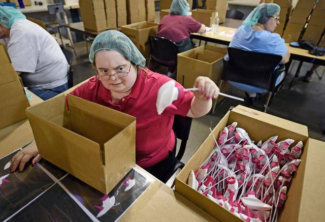 woman working in sheltered workshop