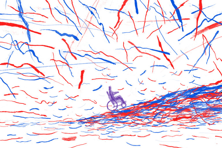 illustration of person in wheelchair moving up hill through red and blue confetti
