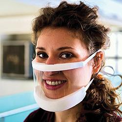 woman wearing clear facemask