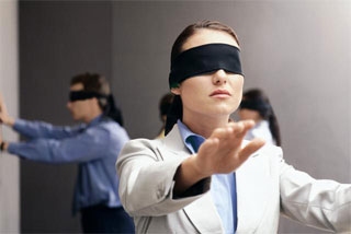 people walking with blindfolds