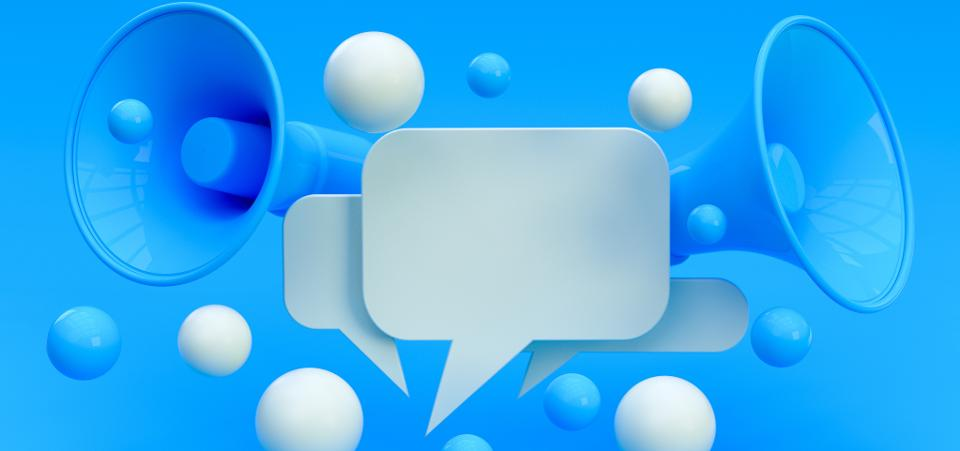 speech bubbles and bullhorns