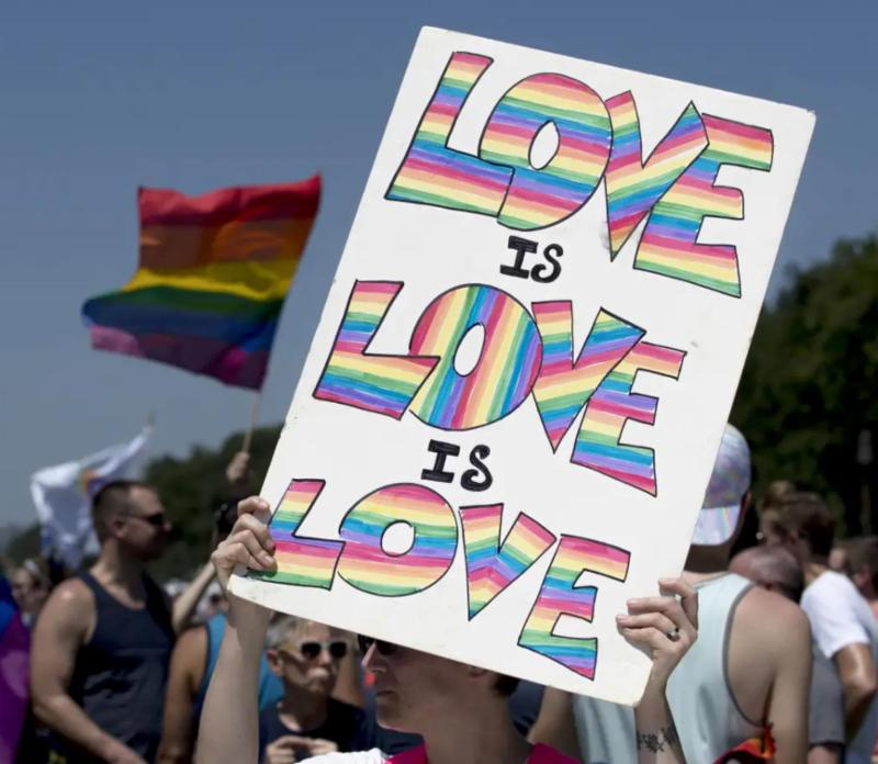 sign at a PRIDE march reads_ _Love is love is love_