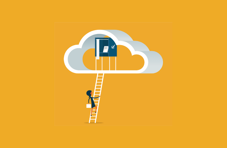 illustration of person climbing ladder to voting booth