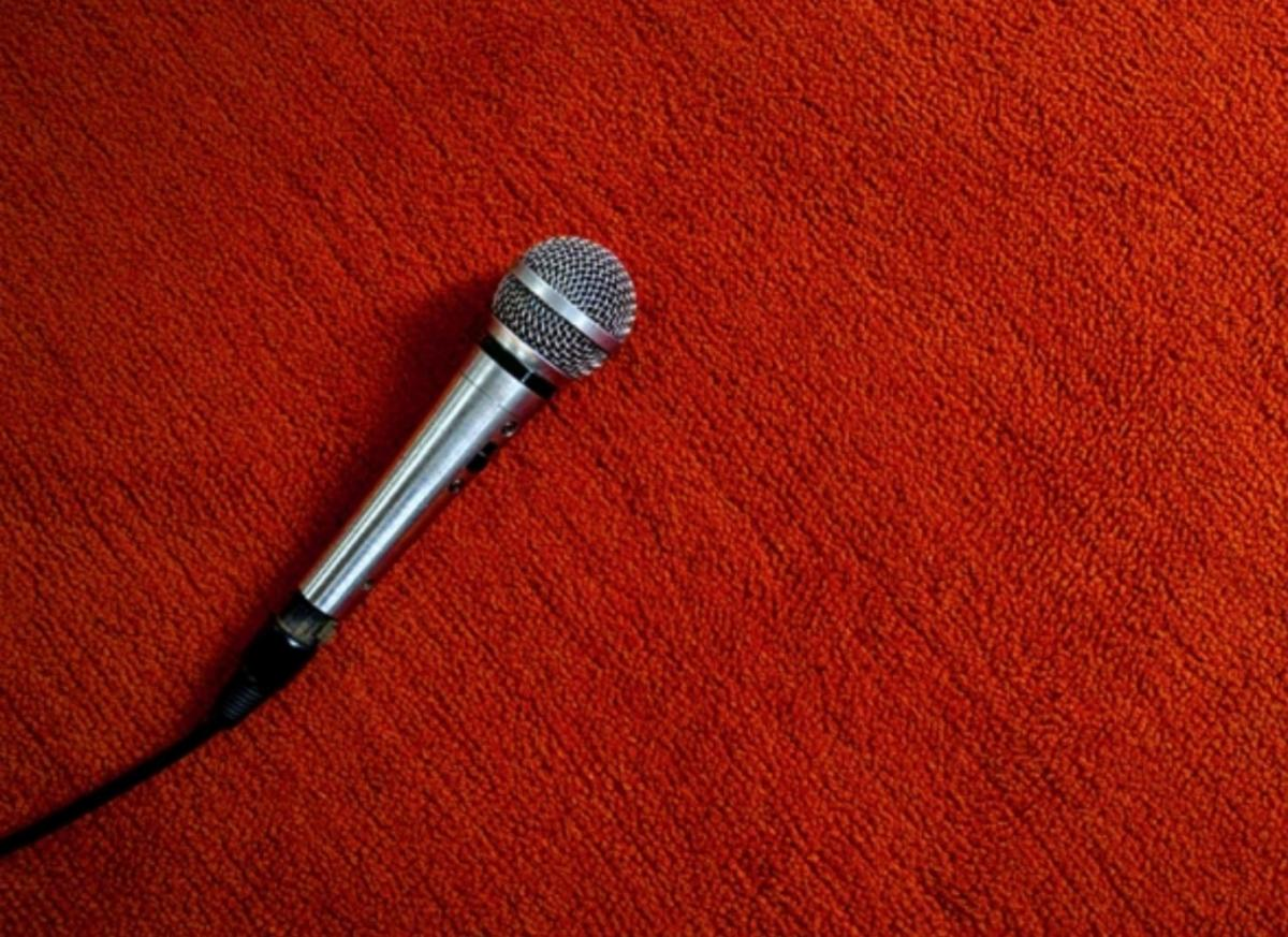 microphone on red carpet
