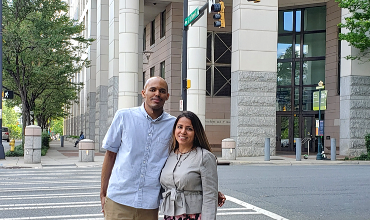 Preeti Menon and colleague, Zephi Francis, in front of court house.