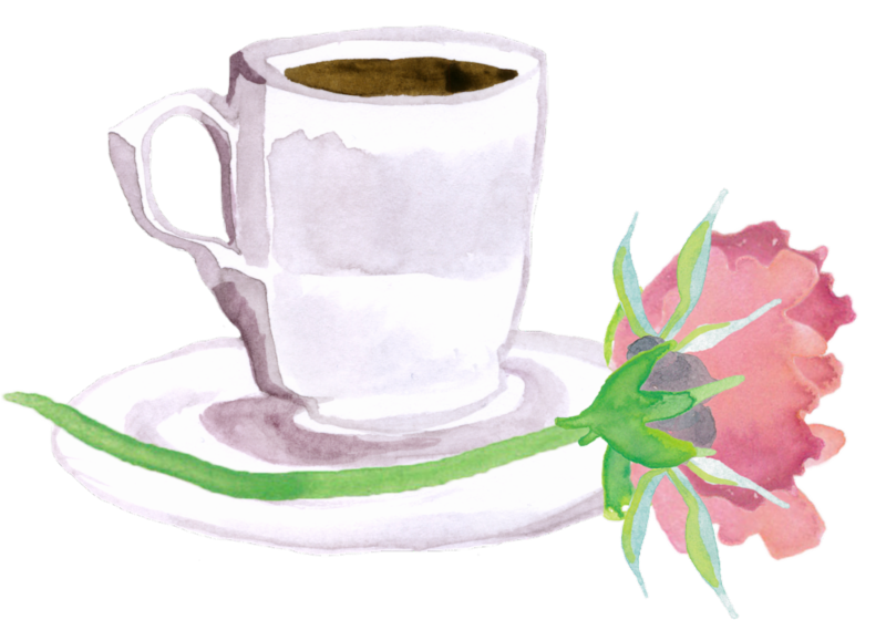 Flower and coffee cup