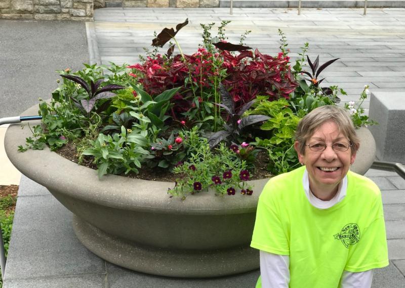 Kathy and Town Hall planter
