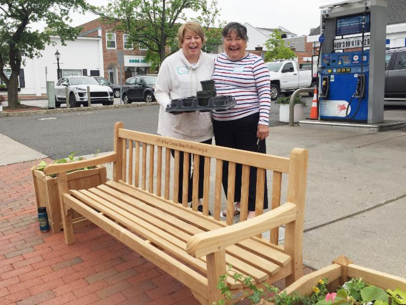 Ann and Eileen at Mobil Bench