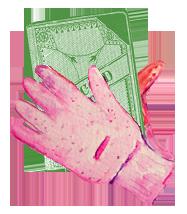 Gloves holding book