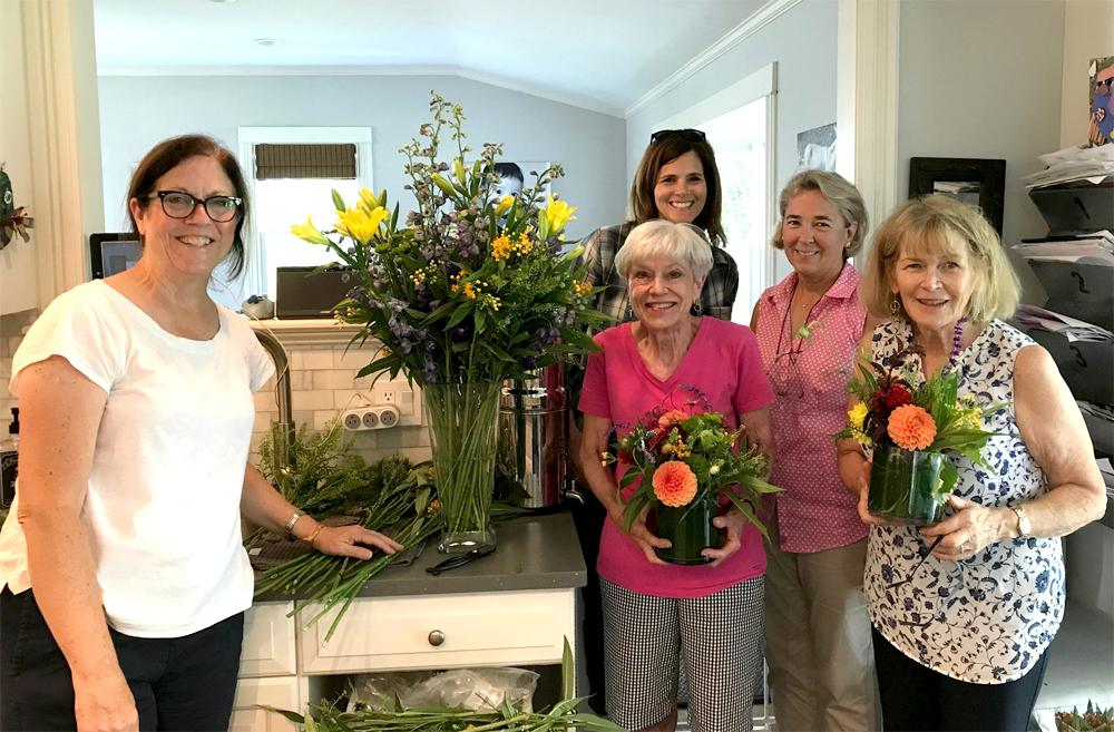 Flower arranging for luncheon