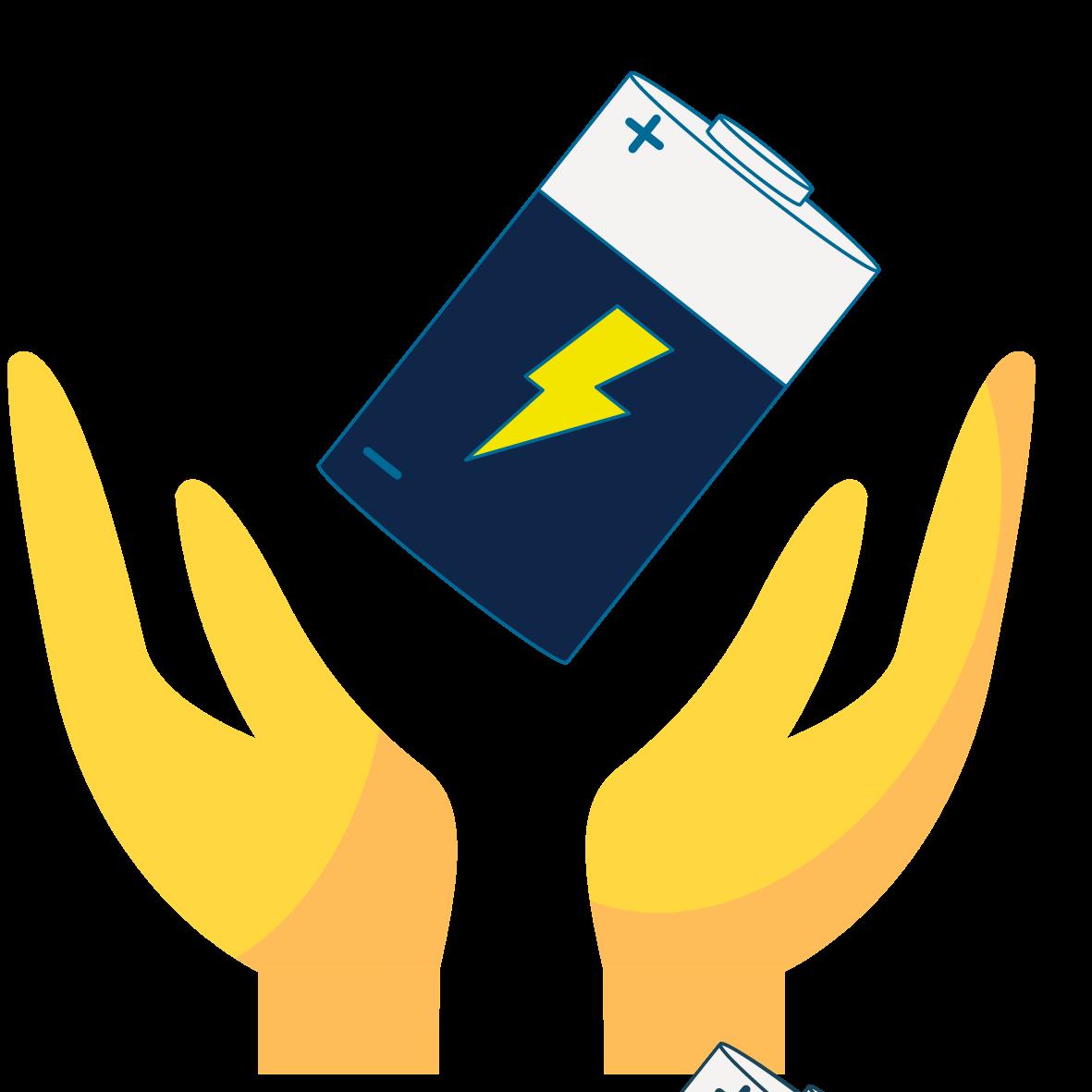 battery blue hands