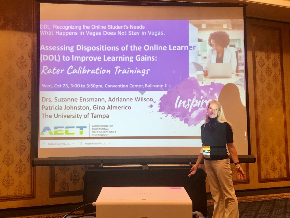 Assistant Professor Suzanne Ensmann presenting at AECT conference.