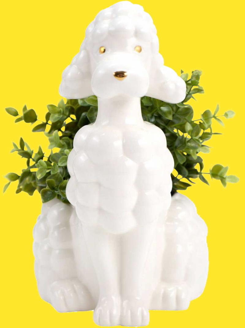 White Poodle Planter