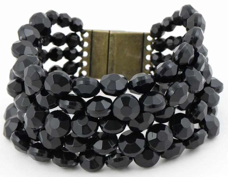 Black Bold Beaded Bracelet