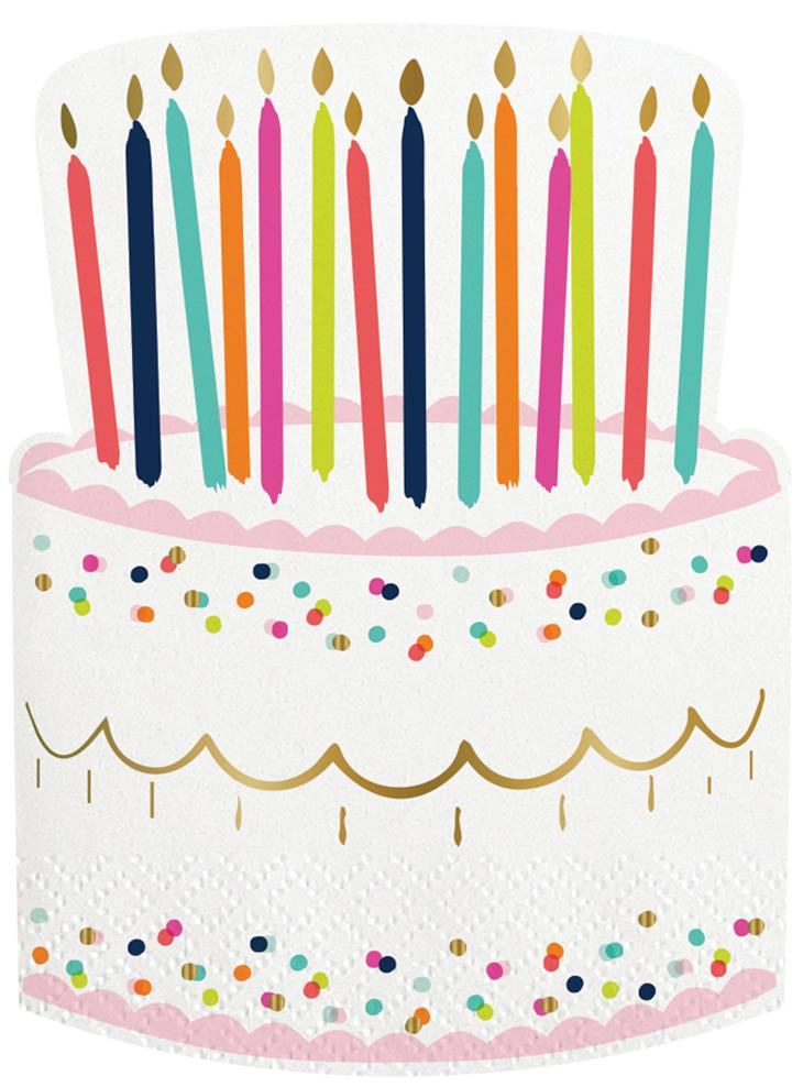 Birthday Cake Beverage Napkins